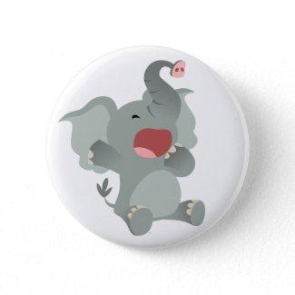 Cute Sleepy Cartoon Elephant Button Badge button