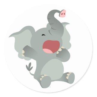 Cute Sleepy Cartoon Elephant Sticker sticker