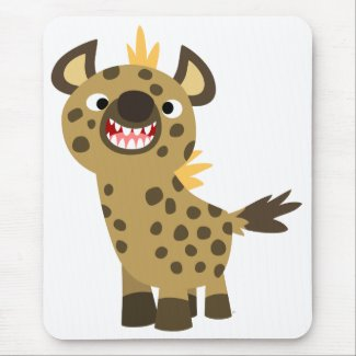 Cute Smiling Cartoon Hyena Mousepad