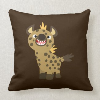 Cute Smiling Cartoon Hyena Pillow