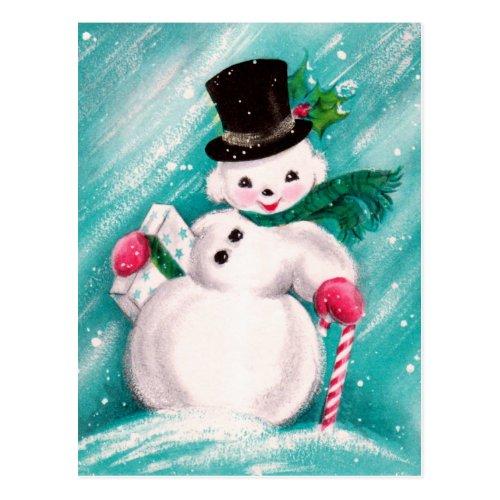 Cute Snowman Girl Postcard