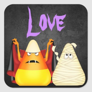 Cute Spooky Halloween Candy Corn LOVE Stickers