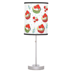 Cute Strawberry and Cream Topped Yummy Cup Cakes Table Lamp