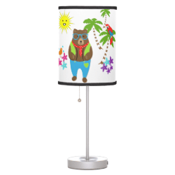 Cute Teddy Bears Tropical Summer Vacation Desk Lamps