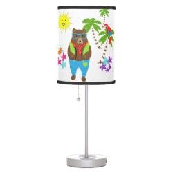 Cute Teddy Bears Tropical Summer Vacation Desk Lamps