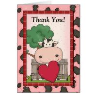 Cute Thank You - Cow & Heart Card
