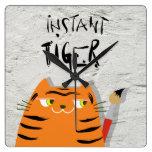 Cute Tiger Cartoon Face , Artist | Wall Clock Cat