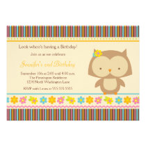 Cute tropical owl girls birthday party invitation