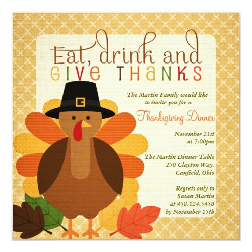 Cute Turkey Thanksgiving Dinner Invitation