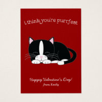 Cute Tuxedo Cat Classroom Valentines Business Card