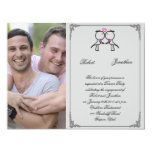 Cute Two Grooms Kissing Gay Wedding Engagement Invitation