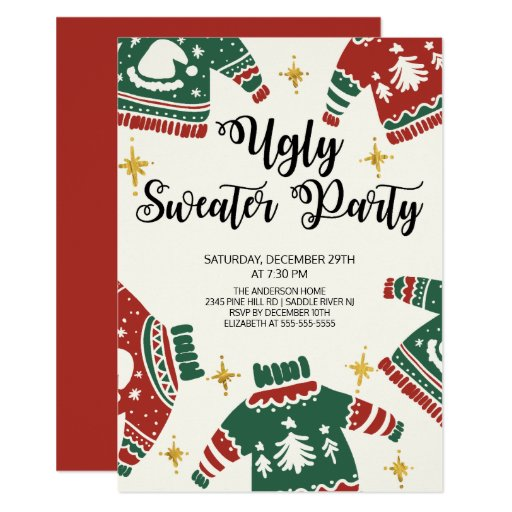 Cute Ugly Sweater Winter Party Invitation