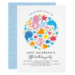 Cute Under The Sea Creatures Birthday Party Invitation