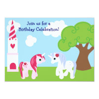 Cute Unicorn Birthday Invitation