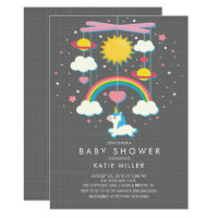 Cute Unicorn Mobile Baby Shower Invitation