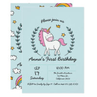 Cute Unicorn on Laurels. Birthday Card