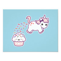 Cute Unicorn Poop Birthday Party Invitations