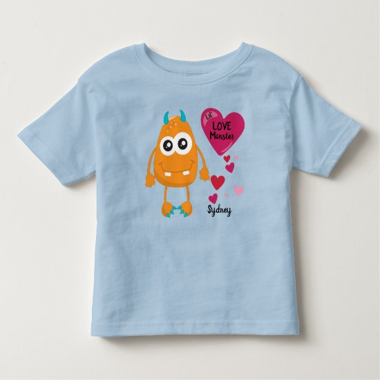 Cute Valentine's Love Monster Critter and Hearts | Toddler T-shirt