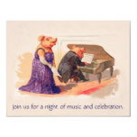 Funny & Cute Vintage Pigs in Concert - Birthday Invitation