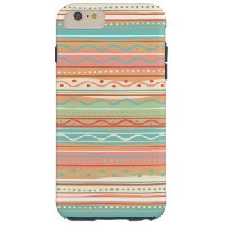 Cute Wavy Stripes with Dots Tough iPhone 6 Plus Case