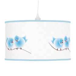 Cute Whimsical Fluffy Blue Love Birds Lamps