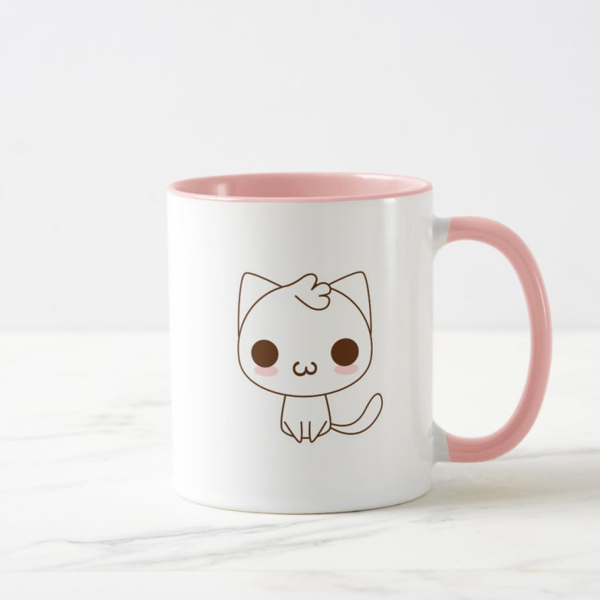 Kawaii white Cat mug