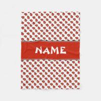 Cute White & Red Ladybugs Custom Name Kids Blanket