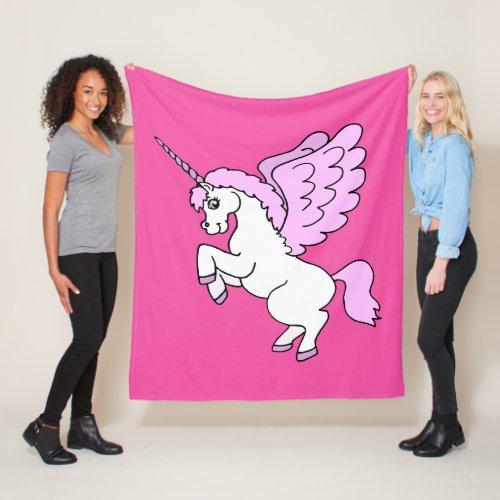 Cute White Unicorn Dark Pink Fleece Blanket