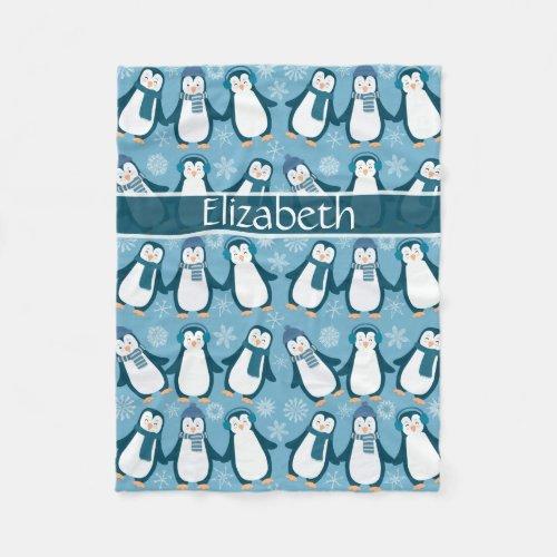 Cute Winter Penguins Design Add Name Fleece Blanket