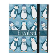Cute Winter Penguins Design Add Name iPad Folio Cases