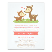 Cute Woodland Deer Baby Shower Invitations