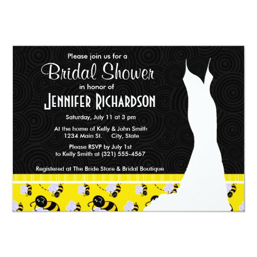 Cute Yellow & Black Bee Invitation