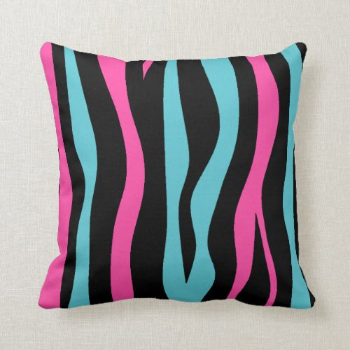Cute zebra print punk in hot pink, black, and blue throw pillow