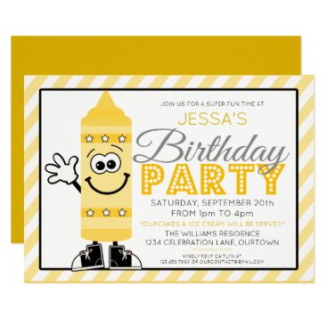 Cutie Cartoon Yellow Crayon Party Invitation