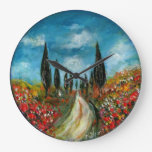 CYPRESS TREES AND POPPIES  IN TUSCANY ROUND WALLCLOCK