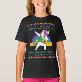 Dabbing Unicorn Rainbow Ugly Christmas Sweater
