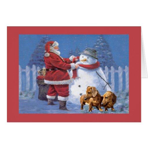 Dachshund Christmas Card Santa Snowman Zazzle