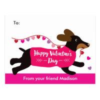 Dachshund Dog School Valentine Exchange Postcard