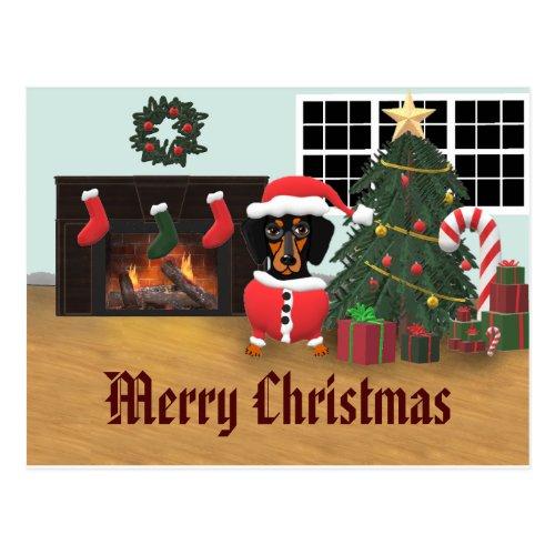 Dachshund Santa Merry Christmas Scene Postcard