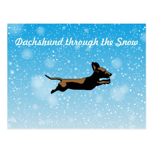 Dachshund through the snow postcard