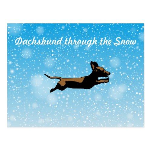 Dachshund through the snow postcard