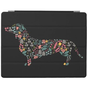 Dachshund Wiener Dog Floral Pattern Watercolor Art iPad Smart Cover