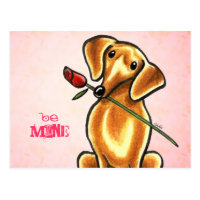 Dachsund Rose Be Mine Off-Leash Art™ Custom Postcard