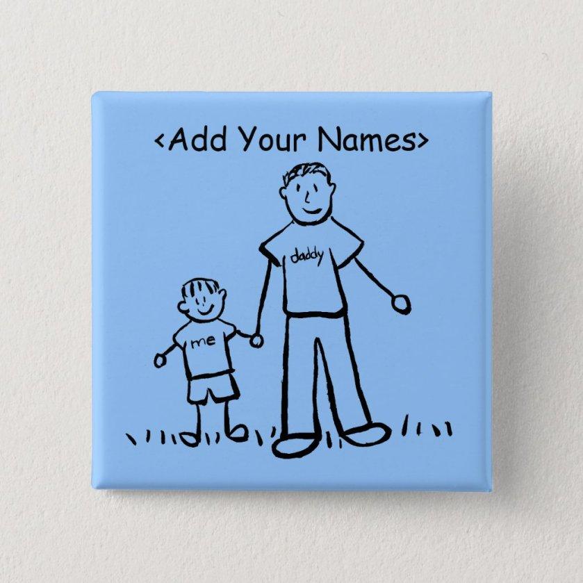 Daddy's Boy Button (Customize Names)