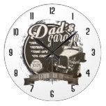 Dad's Garage Black and White Large Clock