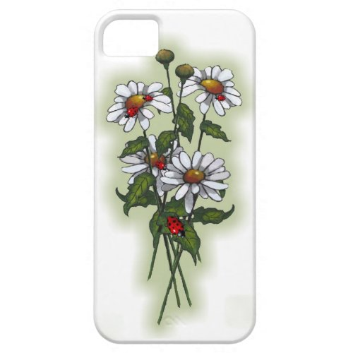 Daisies and Ladybugs, Ladybirds: Nature Art iPhone Case by joyart