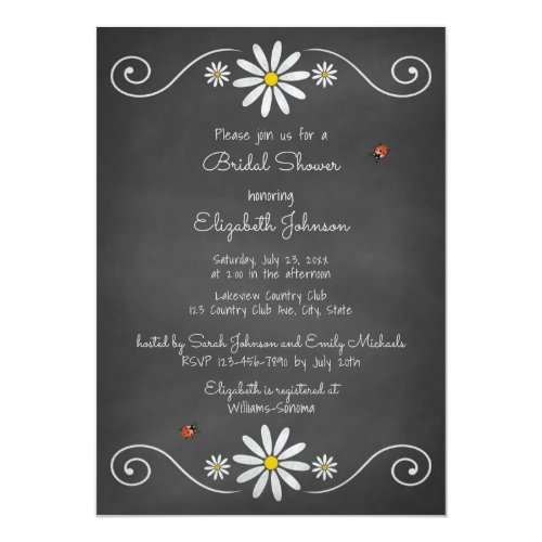 Daisies Ladybugs Rustic Chalkboard Bridal Shower Card