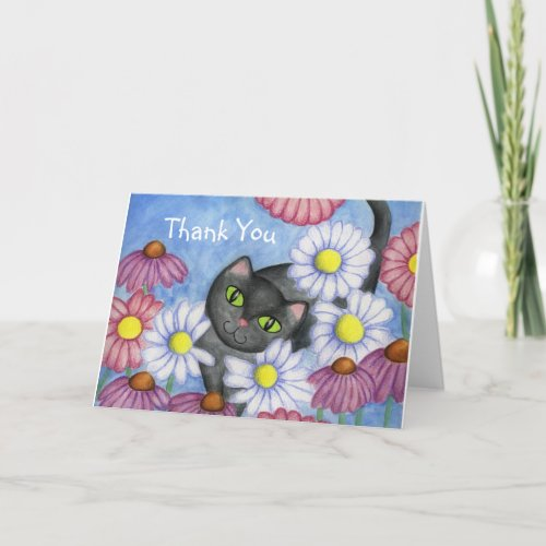 Daisy Cat Thank You Card