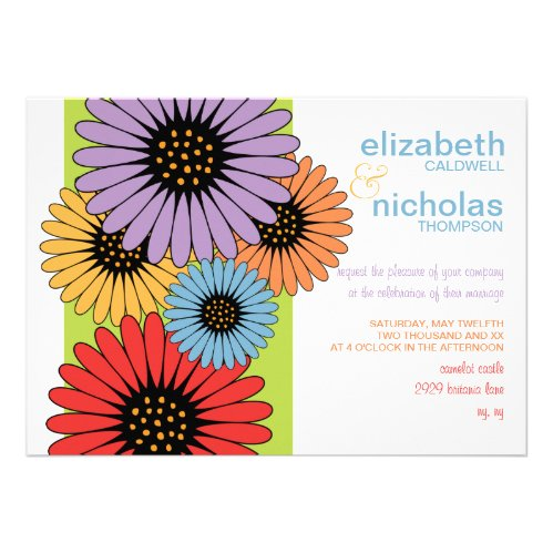Daisy Rainbow Wedding Invitation
