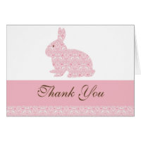 Damask Bunny Rabbit Baby Shower Thank You Card